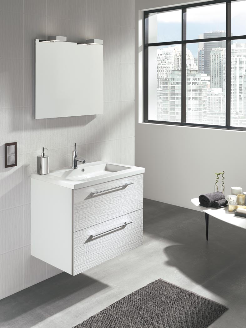 Mueble Baño Gris Arenado:espacios del baño el mueble se diferencia por su canto de doble